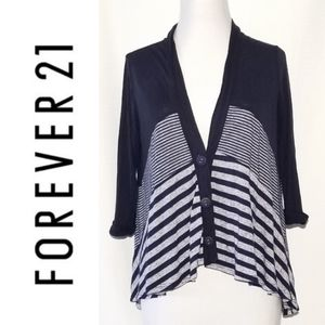 Navy multi stripes button front cardigan